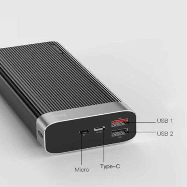 فروش عمده پاوربانک بیسوس 20000میلی آمپر مدل Parallele
