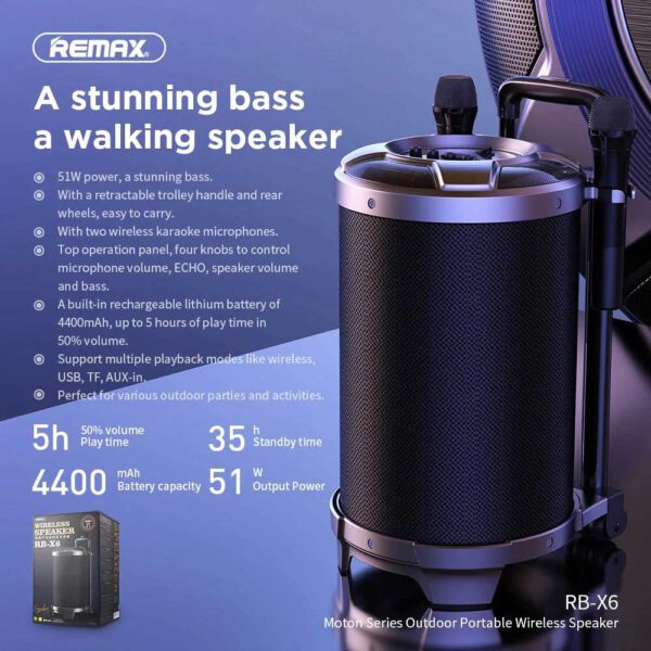 واردات اسپیکر بلوتوث ریمکس چمدانی RB-X6