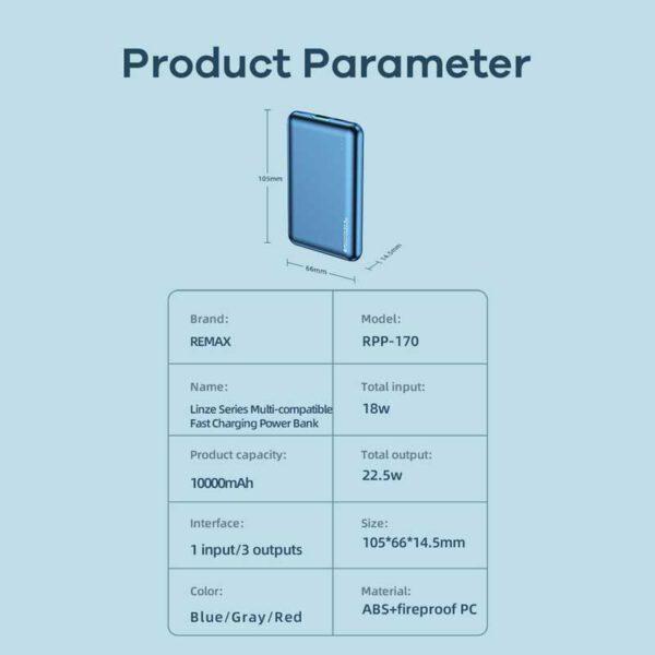 واردات و خرید پاوربانک ریمکس 10000میلی آمپر ساعت مدل RPP-170