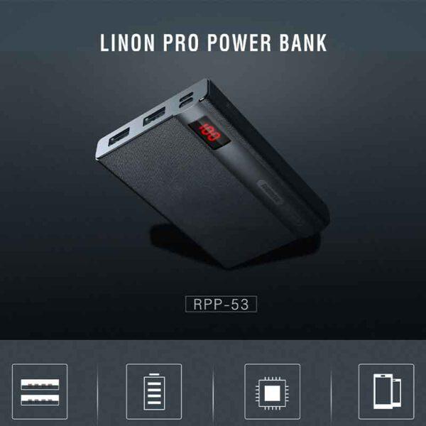 فروش پاوربانک ریمکس 10000 میلی آمپر مدل Linon Pro RPP-53