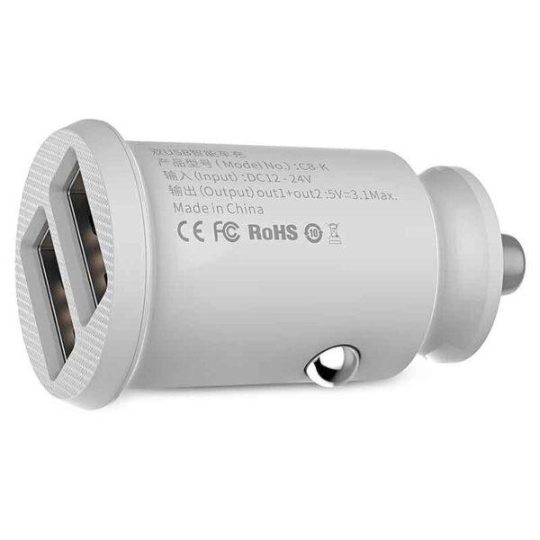 پخش عمده شارژر فندکی دوگانه بیسوس مدلGrain C8-K