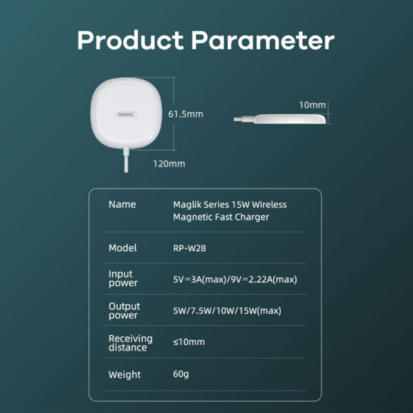 فروش شارژر بیسیم ریمکس مدل Magnetic RP-W28